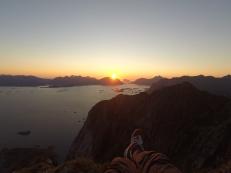 Solnedgang fra Festvågtinden.