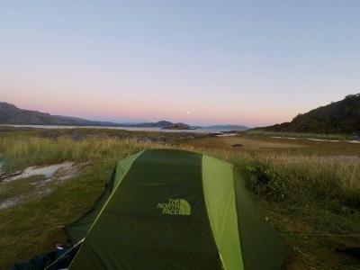 Teltplassen med fin utsikt.