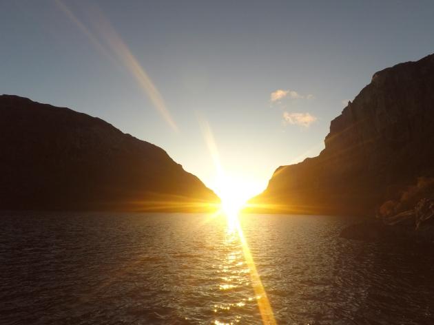 Solnedgang.